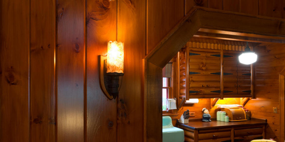 TONGUE AND GROOVE RED CEDAR PANELING HALLWAY