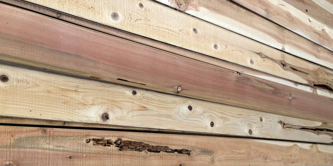 Discount Cedar Siding customer Grade Pecky Dry Rot Example