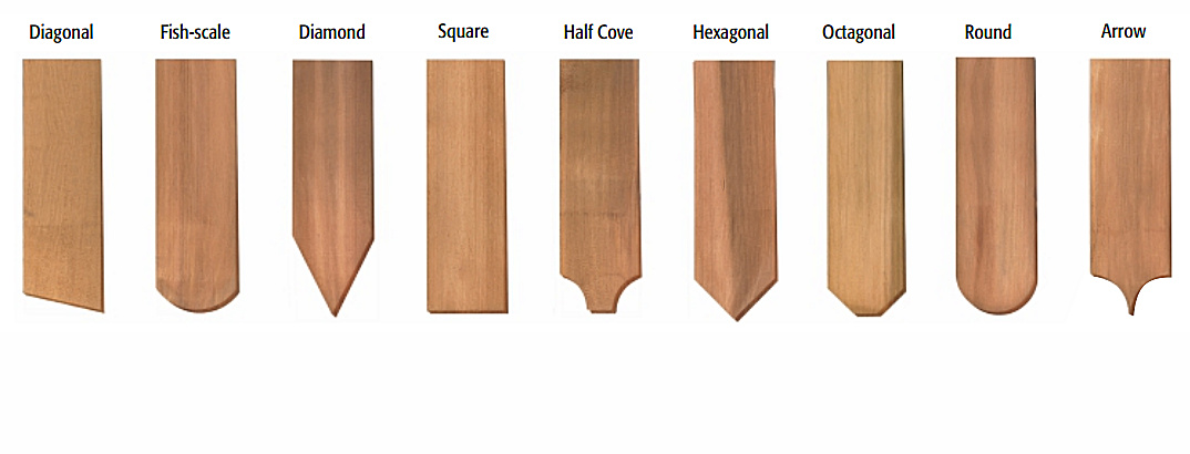 FANCY BUTT R&R CEDAR WALL SHINGLES – 9 Decorative Profiles
