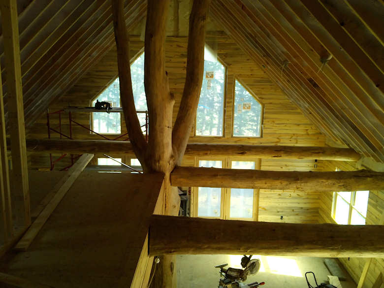 blue stained pine interior installation