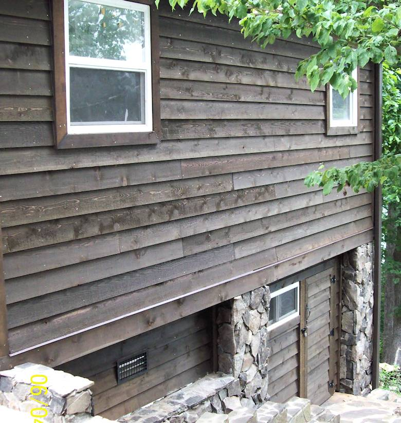 Thick Bevel Rabbeted Siding STK grade - Stained Olympic # 712, Black Oak - home in North Carolina