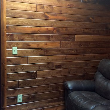 Pine Paneling HAND Stained Fruitwood - wall shot