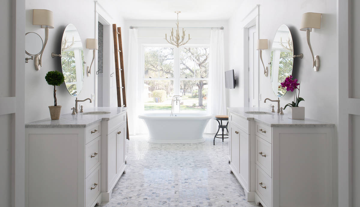 Tongue and groove for bathrooms - Master Bath Painted Shiplap Paneling