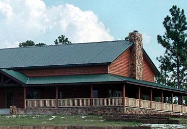 pine QTR Log siding home