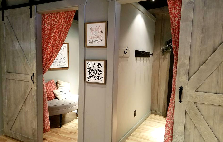 Clothing Boutique dressing room barn doors in the same Greystone color
