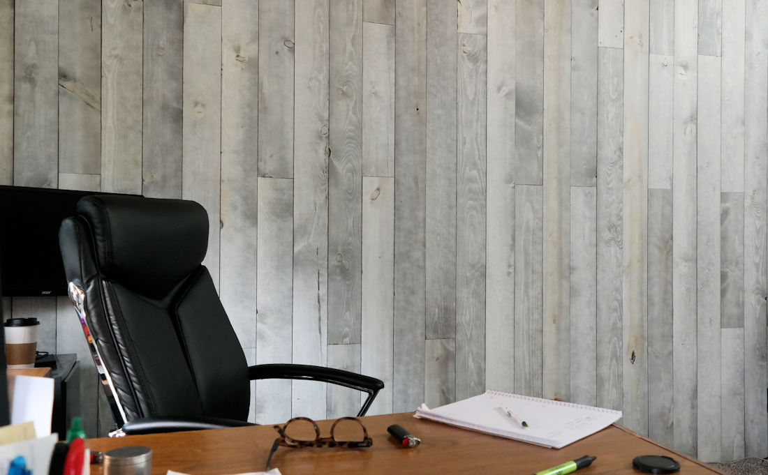 Home Office Flush Face Pine Paneling Greystone finish