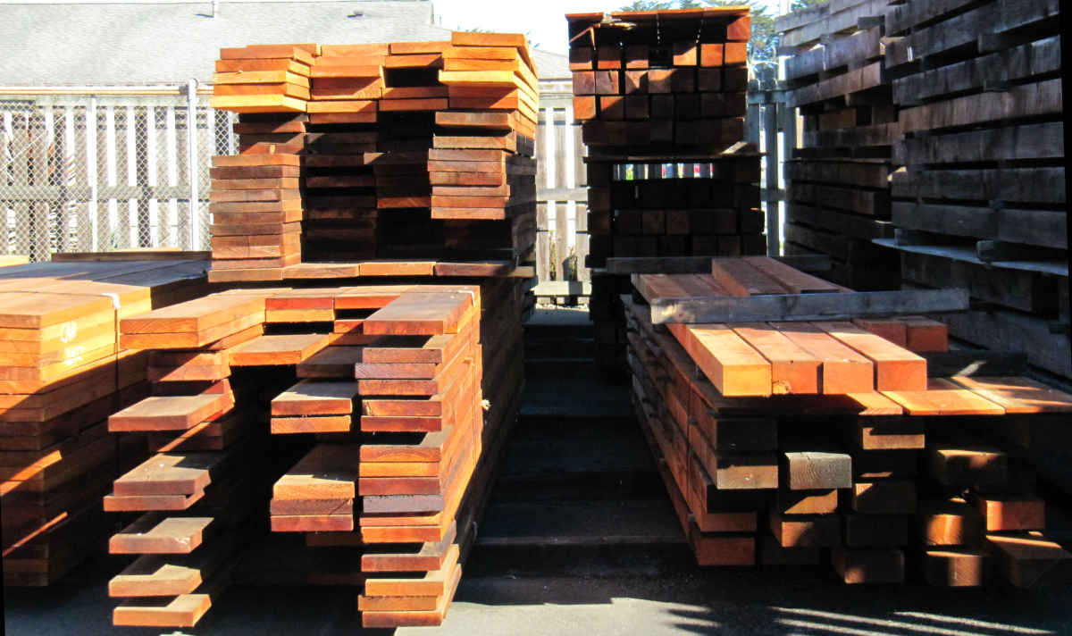 REDWOOD LUMBER STACKED AFTER MILLING