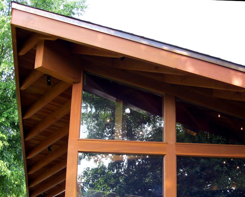 Redwood framed and beam wrapped home