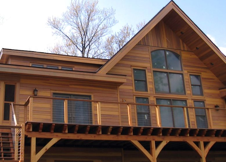 Sap B Grade redwood siding pre-finished with redwood tinted stain