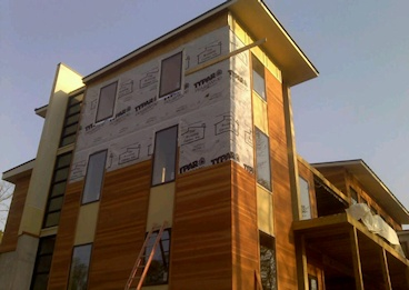 Redwood Siding - SAP B grade 1x6 Tongue & Groove Flush Joint Profile Olympic 717 Redwood semi-trans stain