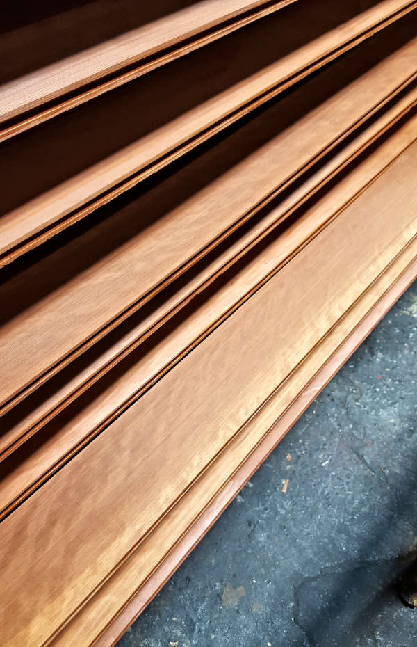 Redwood Siding siding T&G SAP B Near Clear Grade on Mill Drying Rack